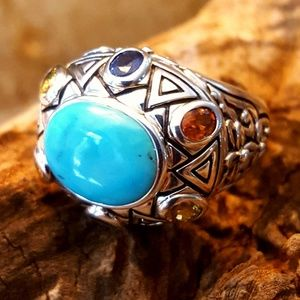 NWOT! HSN Sally C.Treasures 925 Turquoise Ring-sz8